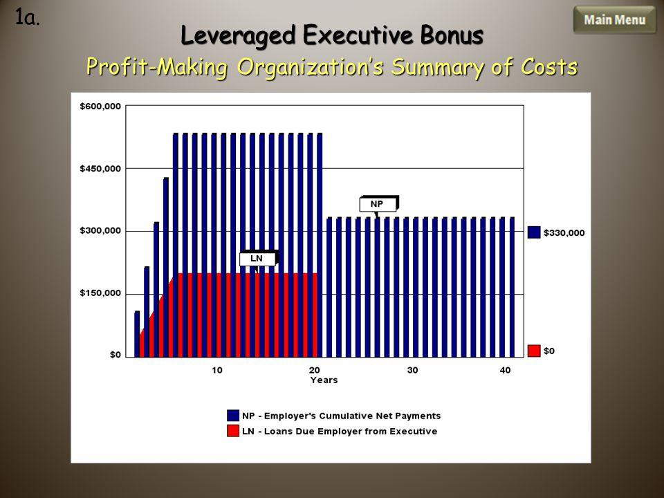 Leveraged Executive Bonus Profit-Making Organization's Summary of Costs 1a.