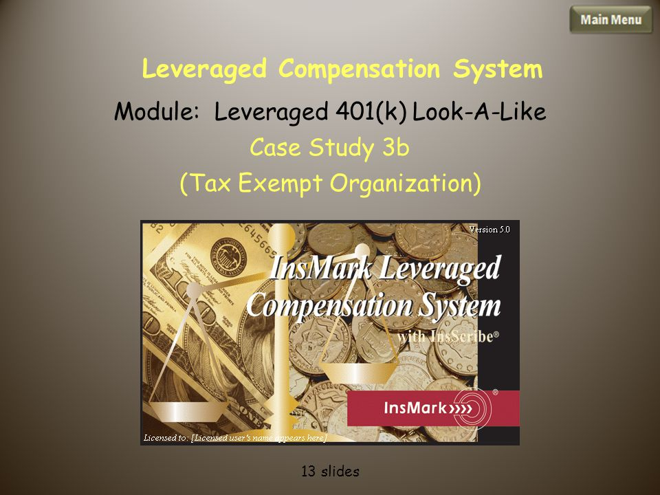Leveraged Compensation System Module: Leveraged 401(k) Look-A-Like Case Study 3b (Tax Exempt Organization) 13 slides