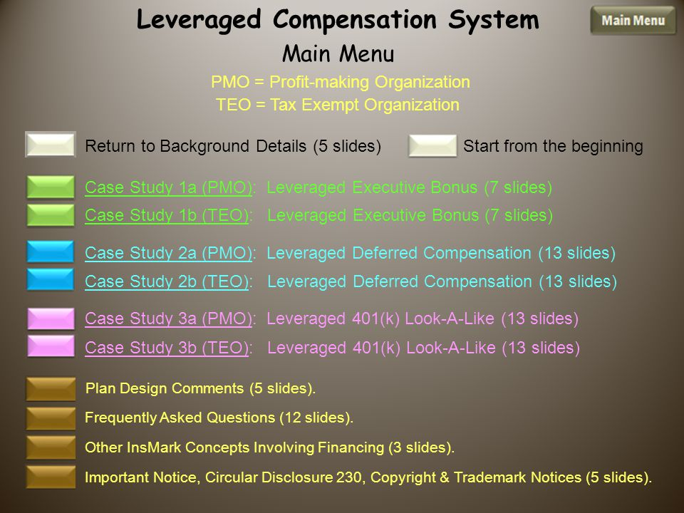 Leveraged Compensation System Main Menu PMO = Profit-making Organization TEO = Tax Exempt Organization Other InsMark Concepts Involving Financing (3 slides).