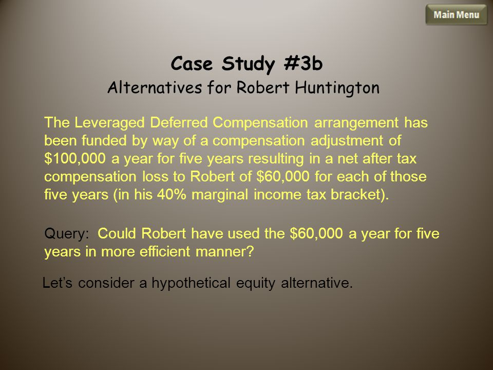 Query: Could Robert have used the $60,000 a year for five years in more efficient manner.