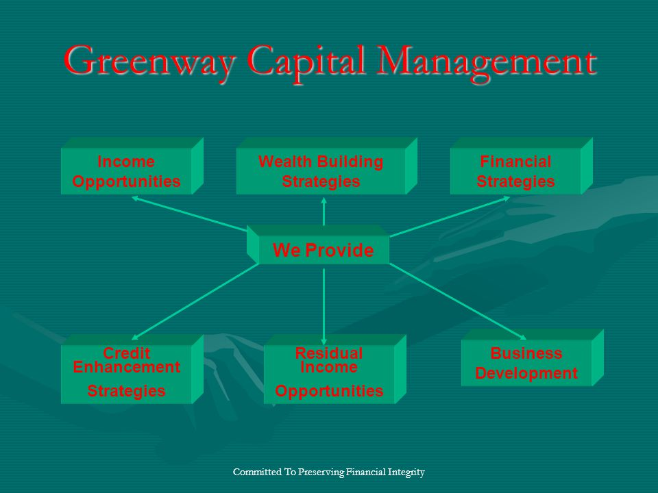 Committed To Preserving Financial Integrity Greenway Capital Management We Provide Wealth Building Strategies Residual Income Opportunities Business Development Income Opportunities Credit Enhancement Strategies Financial Strategies