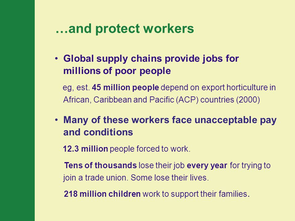 Global supply chains provide jobs for millions of poor people eg, est.