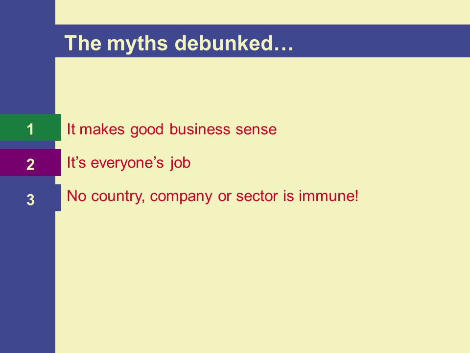 It makes good business sense It's everyone's job No country, company or sector is immune.