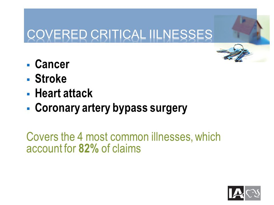  Cancer  Stroke  Heart attack  Coronary artery bypass surgery Covers the 4 most common illnesses, which account for 82% of claims