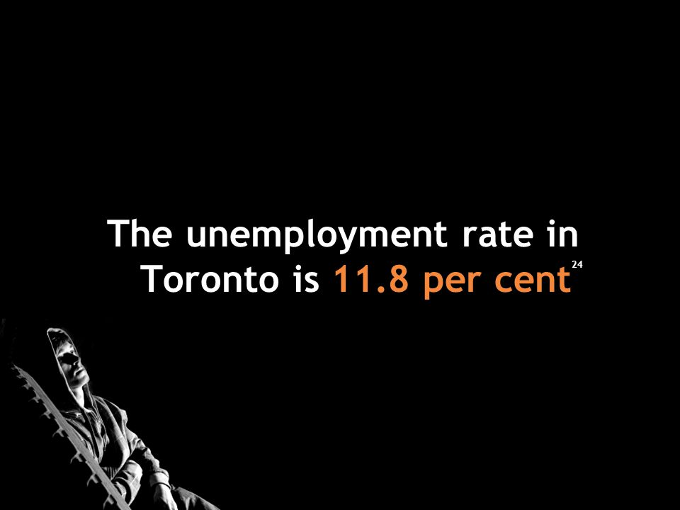 The unemployment rate in Toronto is 11.8 per cent 24