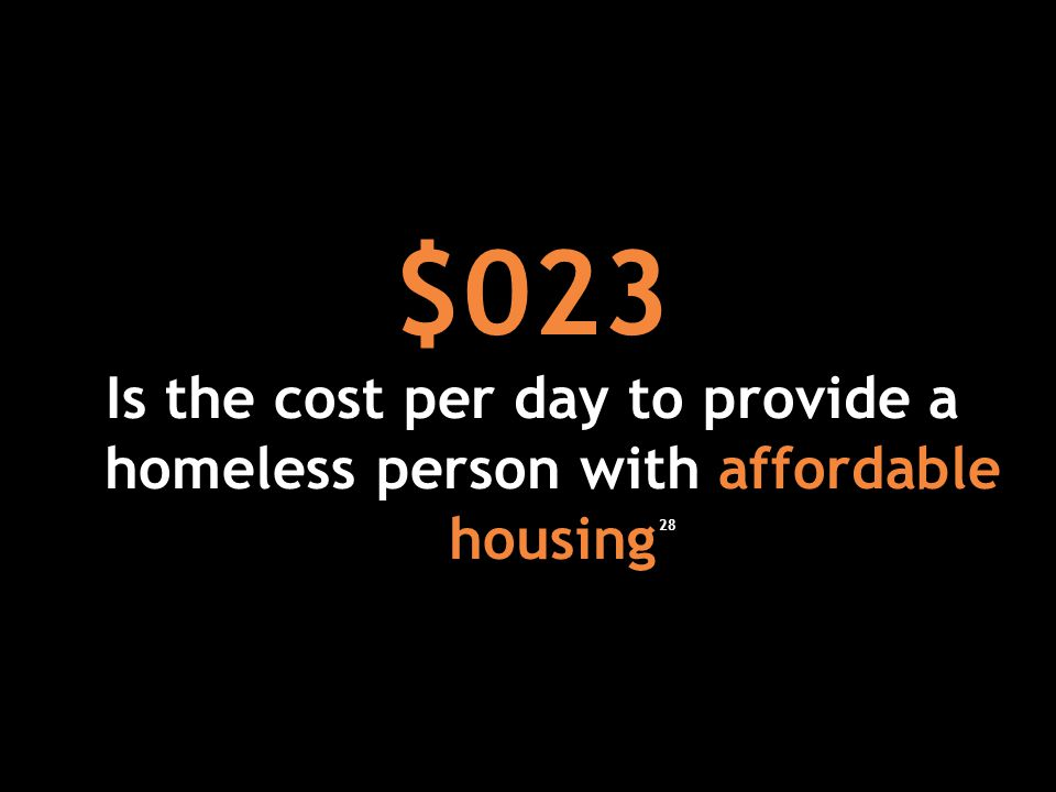 $023 Is the cost per day to provide a homeless person with affordable housing 28