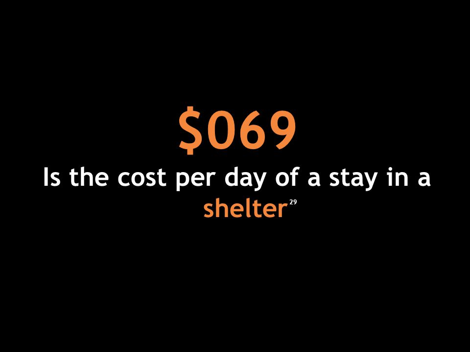 $069 Is the cost per day of a stay in a shelter 29