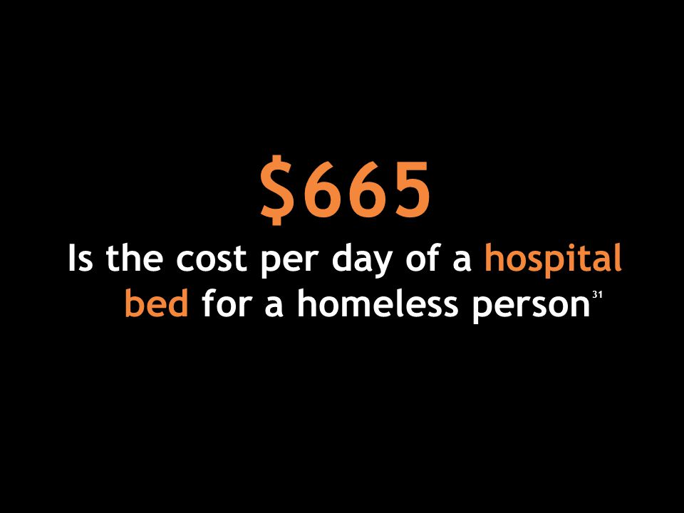 $665 Is the cost per day of a hospital bed for a homeless person 31