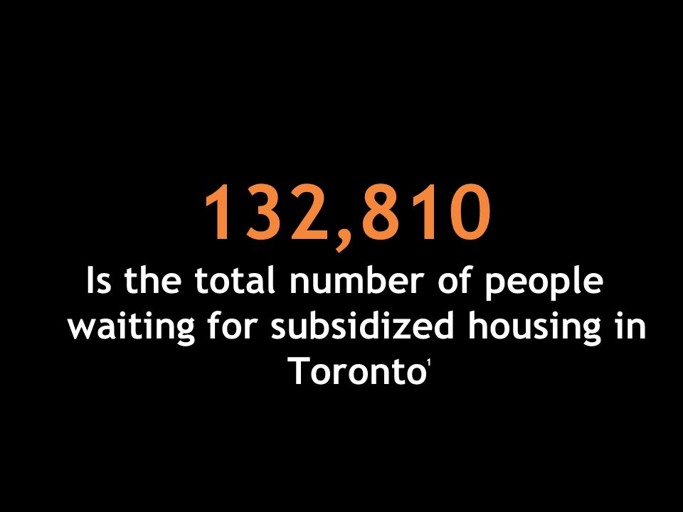 132,810 Is the total number of people waiting for subsidized housing in Toronto 1