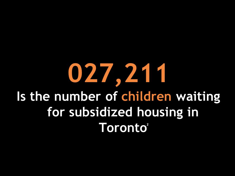 027,211 Is the number of children waiting for subsidized housing in Toronto 2