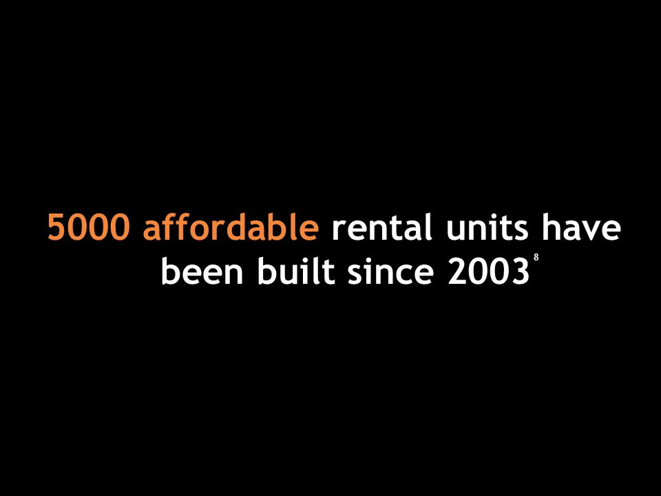 5000 affordable rental units have been built since 2003 8