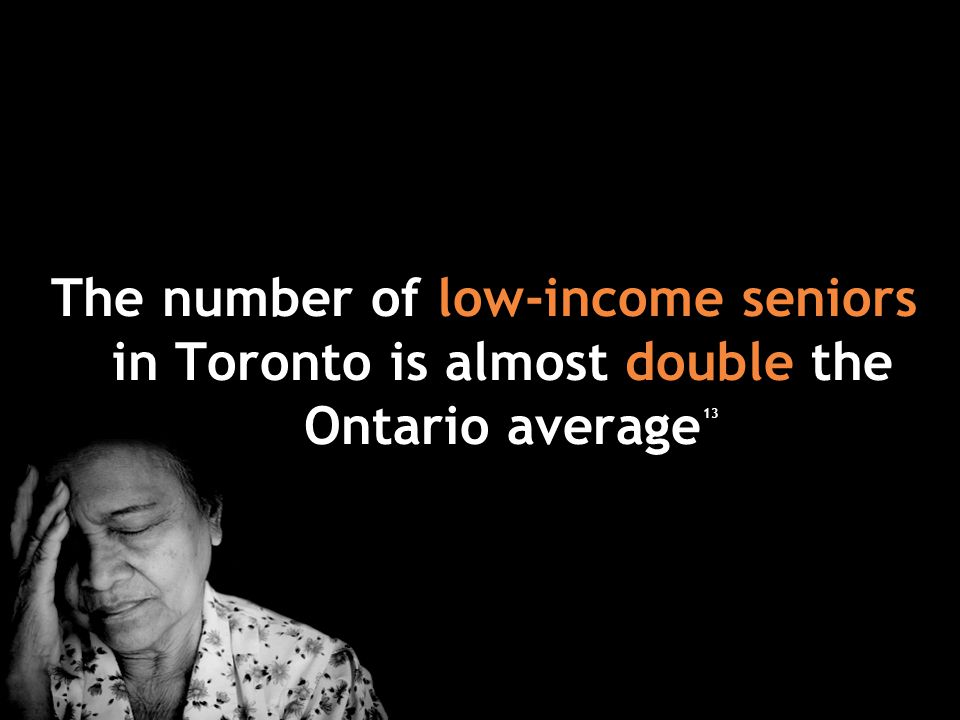 The number of low-income seniors in Toronto is almost double the Ontario average 13