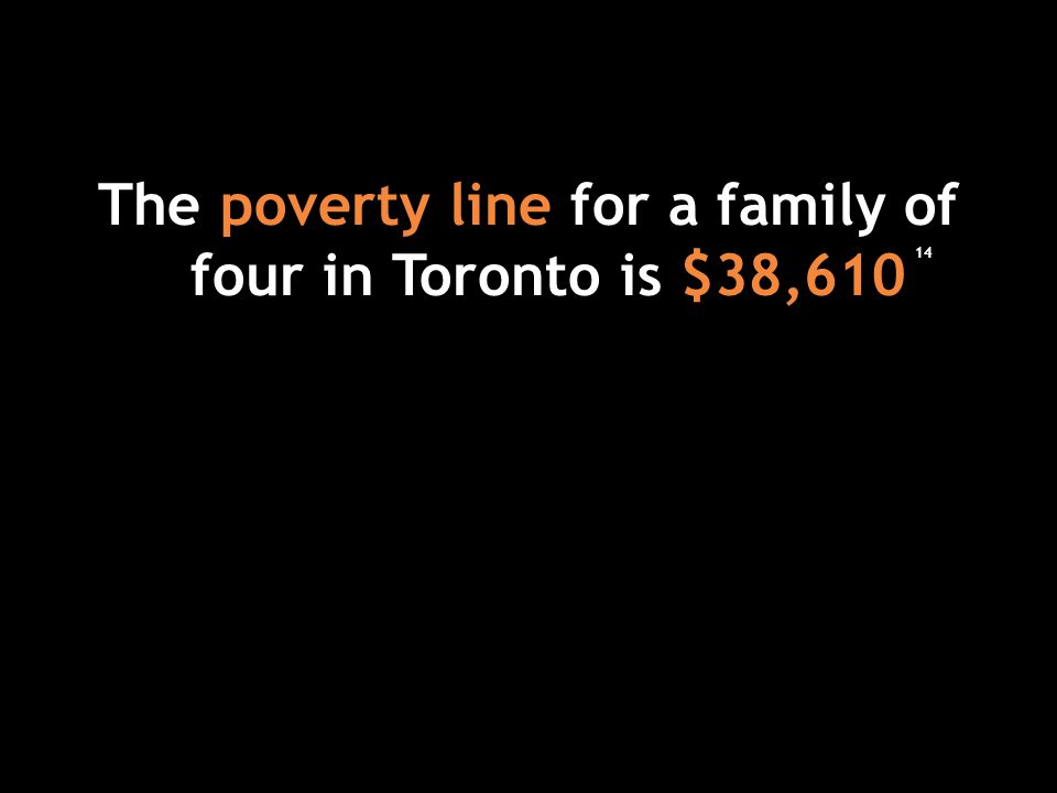 The poverty line for a family of four in Toronto is $38,610 14
