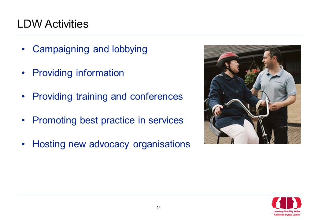 14 LDW Activities Campaigning and lobbying Providing information Providing training and conferences Promoting best practice in services Hosting new advocacy organisations