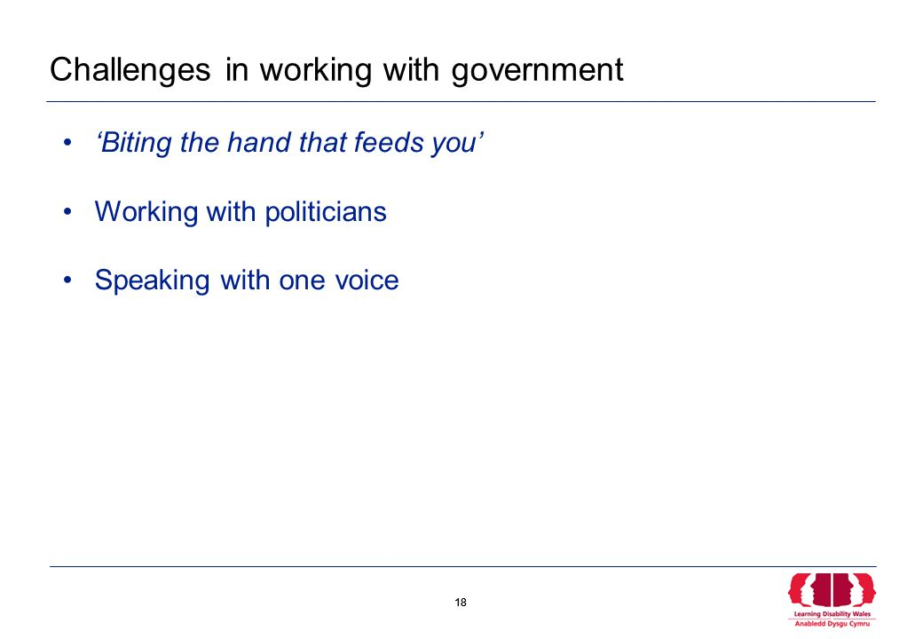 18 Challenges in working with government 'Biting the hand that feeds you' Working with politicians Speaking with one voice