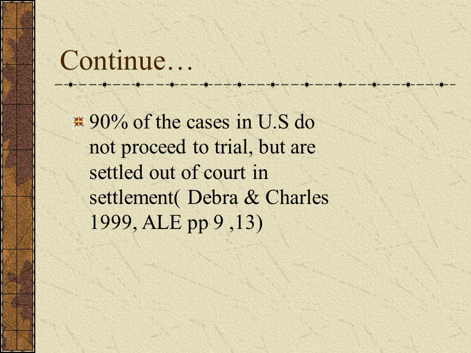 Continue… 90% of the cases in U.S do not proceed to trial, but are settled out of court in settlement( Debra & Charles 1999, ALE pp 9,13)