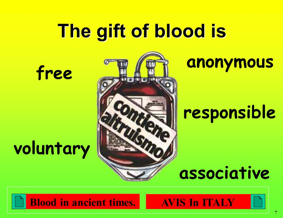 7 The gift of blood is anonymous free voluntary responsible associative Blood in ancient times.