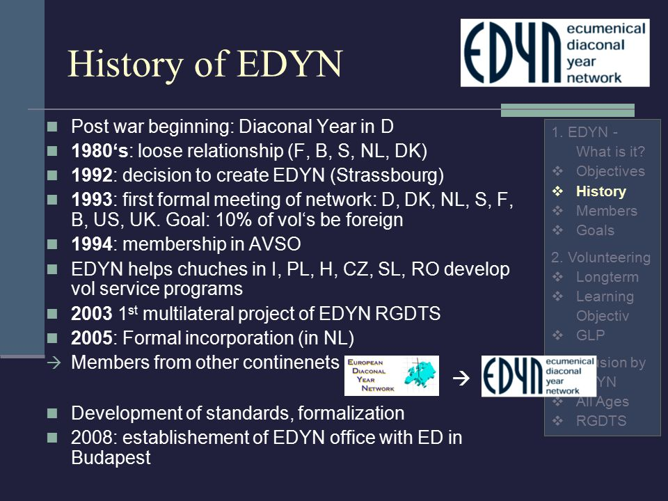 History of EDYN Post war beginning: Diaconal Year in D 1980's: loose relationship (F, B, S, NL, DK) 1992: decision to create EDYN (Strassbourg) 1993: