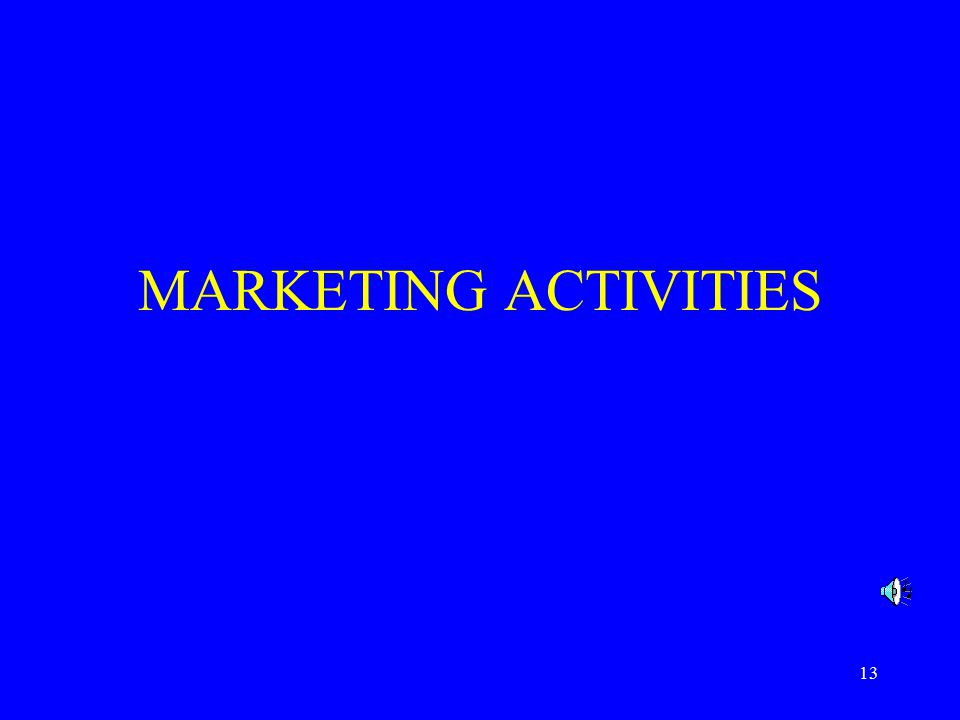 13 MARKETING ACTIVITIES