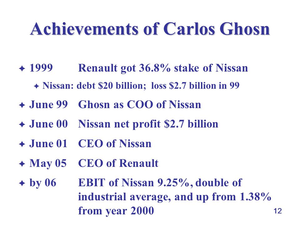 12 Achievements of Carlos Ghosn  1999Renault got 36.8% stake of Nissan  Nissan: debt $20 billion; loss $2.7 billion in 99  June 99Ghosn as COO of Nissan  June 00Nissan net profit $2.7 billion  June 01CEO of Nissan  May 05CEO of Renault  by 06EBIT of Nissan 9.25%, double of industrial average, and up from 1.38% from year 2000