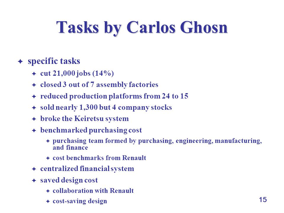 15 Tasks by Carlos Ghosn  specific tasks  cut 21,000 jobs (14%)  closed 3 out of 7 assembly factories  reduced production platforms from 24 to 15  sold nearly 1,300 but 4 company stocks  broke the Keiretsu system  benchmarked purchasing cost  purchasing team formed by purchasing, engineering, manufacturing, and finance  cost benchmarks from Renault  centralized financial system  saved design cost  collaboration with Renault  cost-saving design