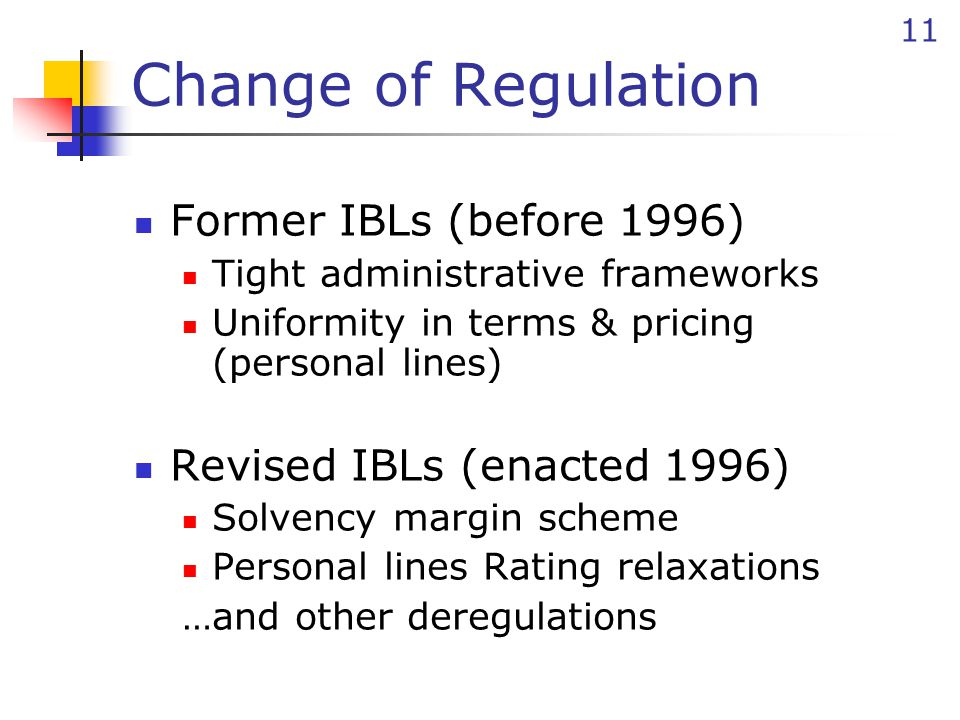 11 Change of Regulation Former IBLs (before 1996) Tight administrative frameworks Uniformity in terms & pricing (personal lines) Revised IBLs (enacted 1996) Solvency margin scheme Personal lines Rating relaxations …and other deregulations
