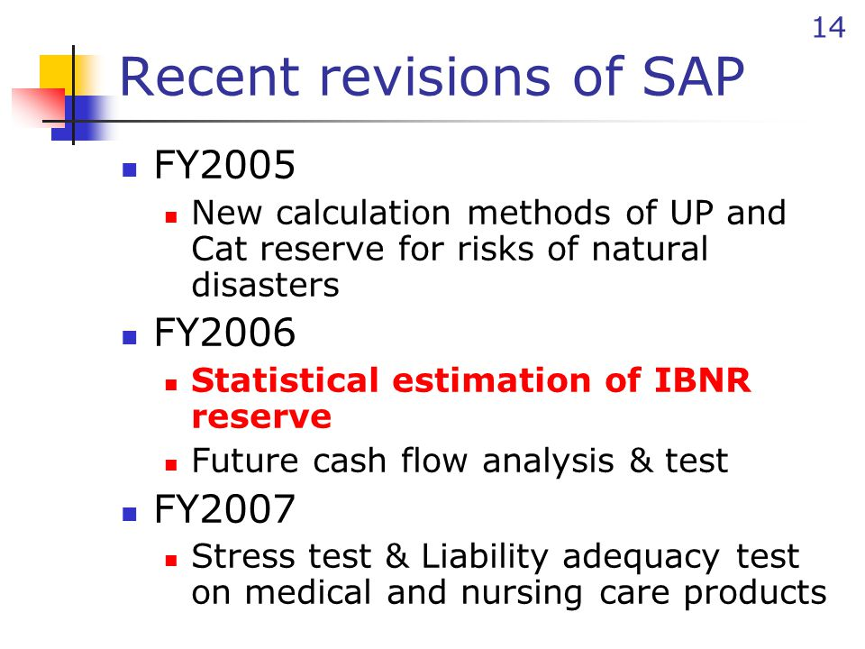 14 Recent revisions of SAP FY2005 New calculation methods of UP and Cat reserve for risks of natural disasters FY2006 Statistical estimation of IBNR reserve Future cash flow analysis & test FY2007 Stress test & Liability adequacy test on medical and nursing care products