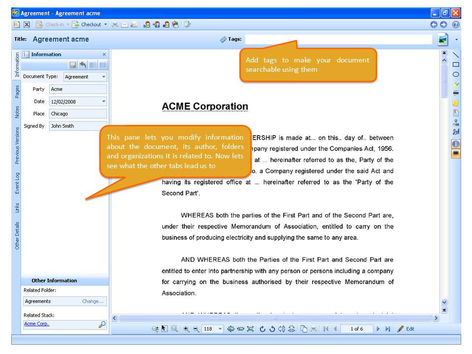 This pane lets you modify information about the document, its author, folders and organizations it is related to.