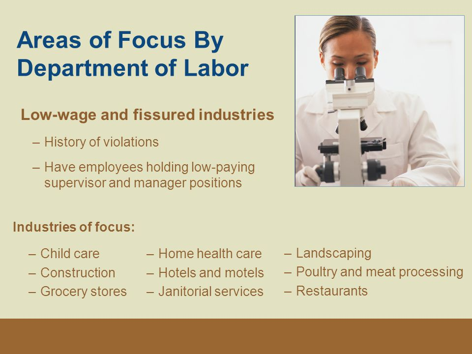 Areas of Focus By Department of Labor Low-wage and fissured industries –History of violations –Have employees holding low-paying supervisor and manager positions Industries of focus: –Child care –Construction –Grocery stores –Home health care –Hotels and motels –Janitorial services –Landscaping –Poultry and meat processing –Restaurants