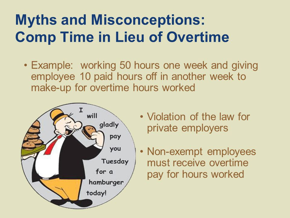 Myths and Misconceptions: Comp Time in Lieu of Overtime Example: working 50 hours one week and giving employee 10 paid hours off in another week to make-up for overtime hours worked Violation of the law for private employers Non-exempt employees must receive overtime pay for hours worked