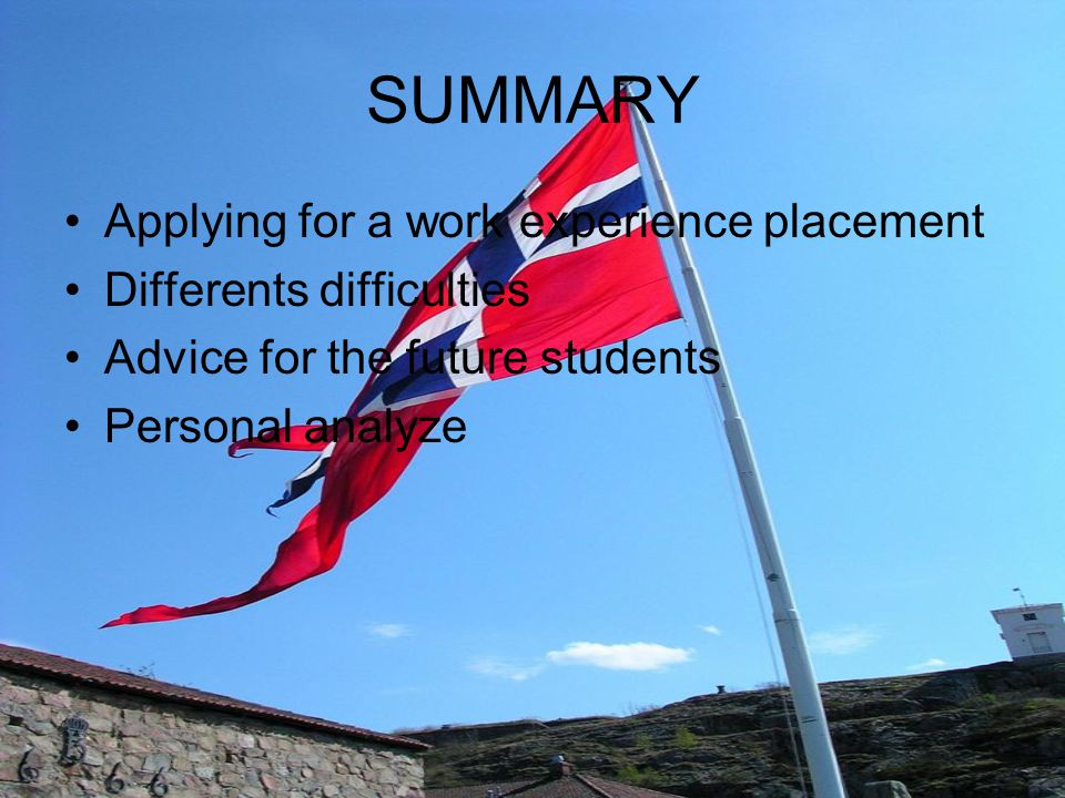 SUMMARY Applying for a work experience placement Differents difficulties Advice for the future students Personal analyze