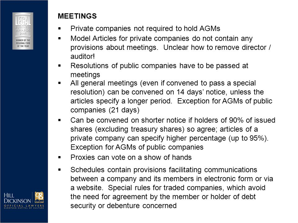  Model Articles for private companies do not contain any provisions about meetings. Unclear how to remove director / auditor!  Resolutions of public