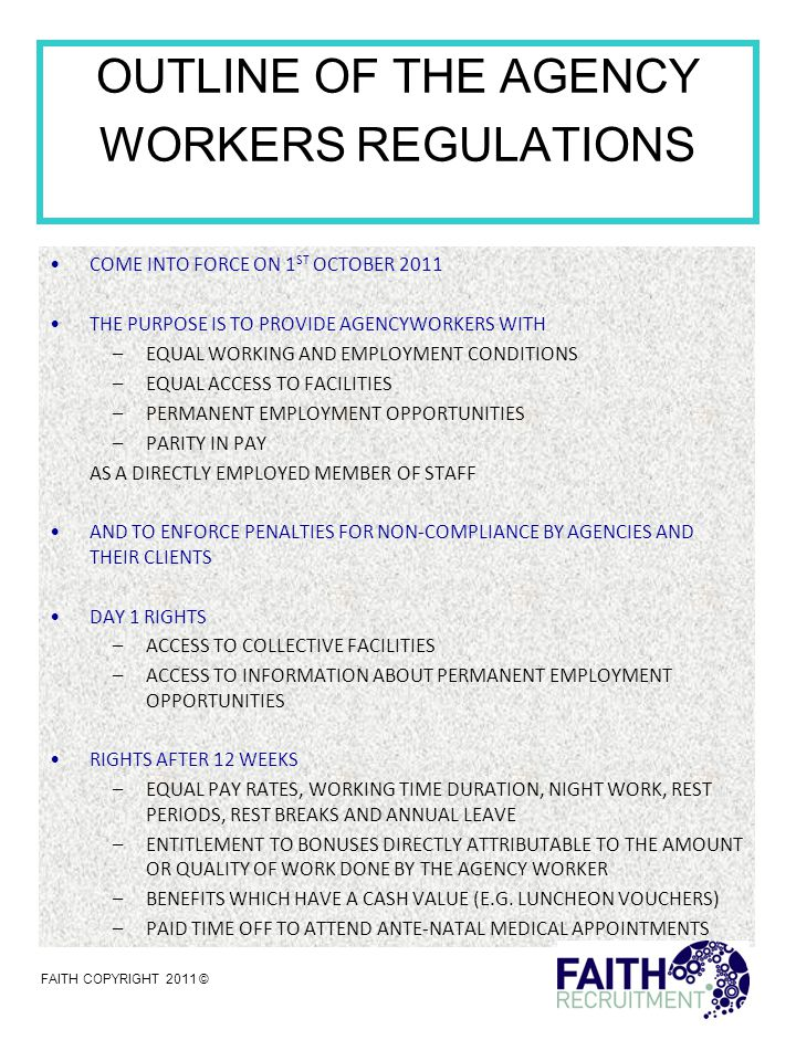 PRACTICAL TIPS FOR HIRERS BETWEEN NOW AND OCTOBER 2011 HIRERS WHO USE AGENCY WORKERS FOR PERIODS IN EXCESS OF 12 WEEKS NEED TO CARRY OUT A SYSTEMATIC REVIEW OF THE TERMS AND CONDITIONS THEY OFFER THEIR OWN EMPLOYEES AND IDENTIFY WHICH OF THOSE TERMS MAY NEED TO BE CONSIDERED WHEN GRANTING 'EQUAL TREATMENT TO A QUALIFYING AGENCY WORKER.