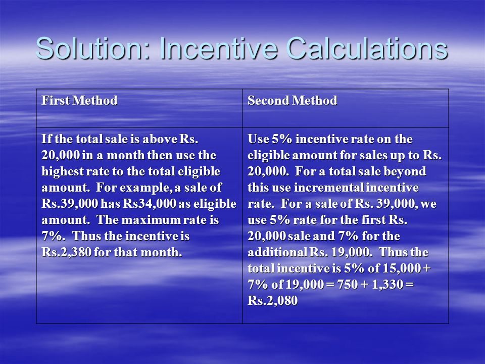 Solution: Incentive Calculations First Method Second Method If the total sale is above Rs.