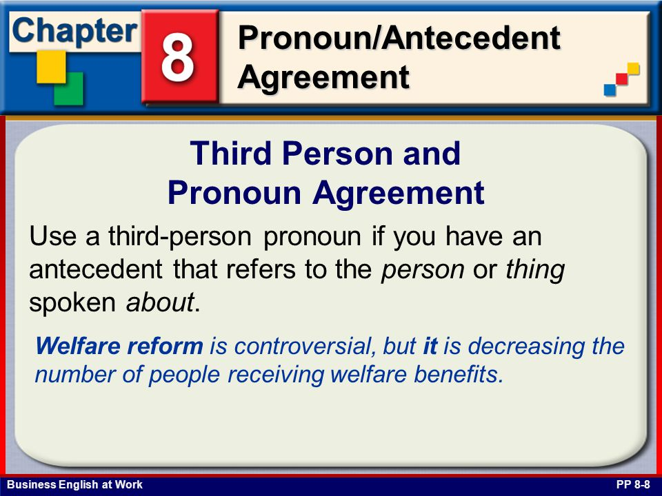 Business English at Work Pronoun/Antecedent Agreement Third Person and Pronoun Agreement PP 8-8 Use a third-person pronoun if you have an antecedent that refers to the person or thing spoken about.