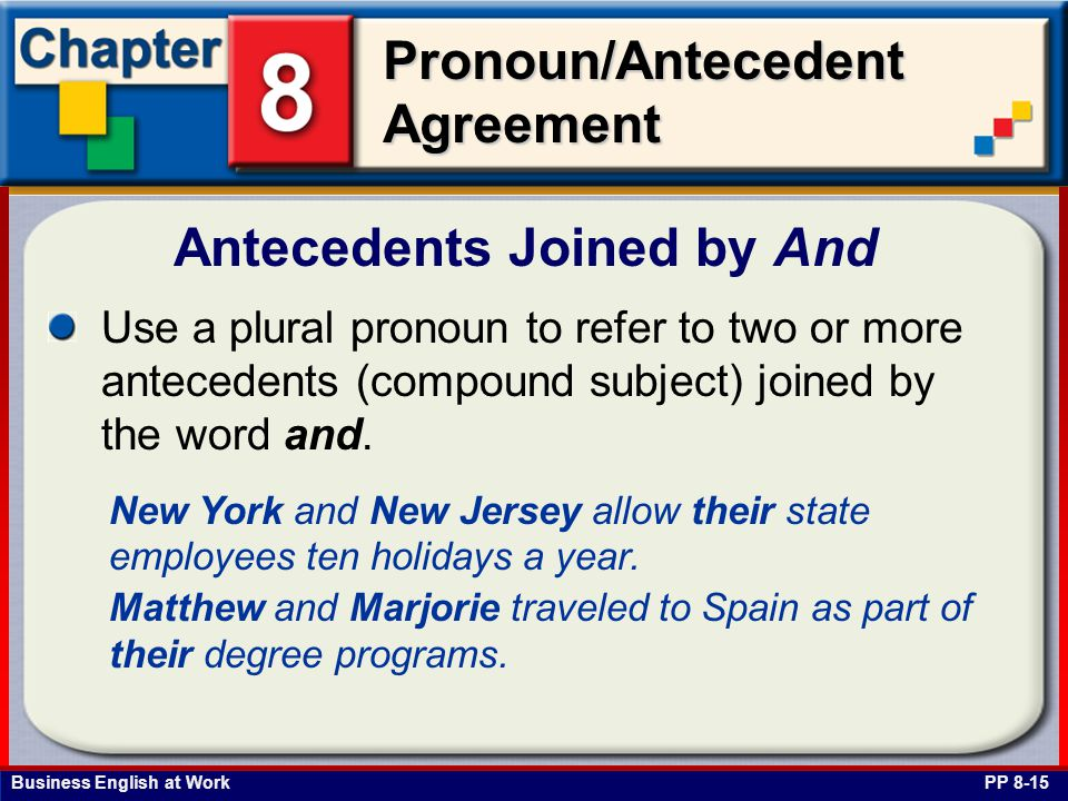 Business English at Work Pronoun/Antecedent Agreement Antecedents Joined by And PP 8-15 Use a plural pronoun to refer to two or more antecedents (compound subject) joined by the word and.