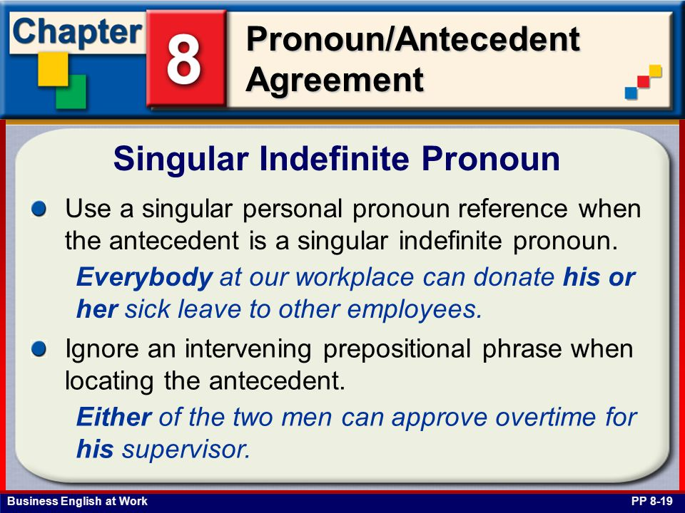 Business English at Work Pronoun/Antecedent Agreement Singular Indefinite Pronoun PP 8-19 Use a singular personal pronoun reference when the antecedent is a singular indefinite pronoun.