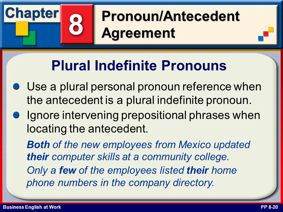 Business English at Work Pronoun/Antecedent Agreement Plural Indefinite Pronouns PP 8-20 Use a plural personal pronoun reference when the antecedent is a plural indefinite pronoun.