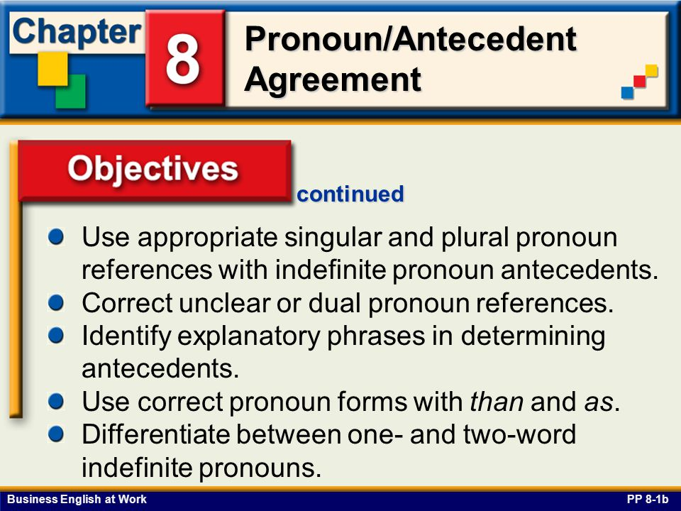 Business English at Work Pronoun/Antecedent Agreement Objectives PP 8-1b continued Use appropriate singular and plural pronoun references with indefinite pronoun antecedents.