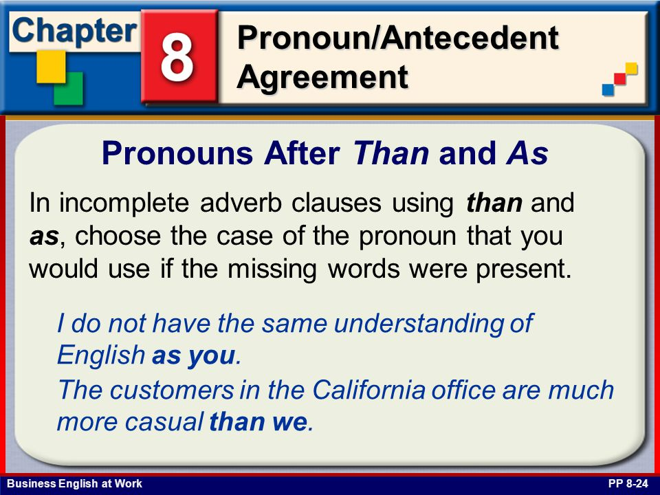Business English at Work Pronoun/Antecedent Agreement Pronouns After Than and As PP 8-24 In incomplete adverb clauses using than and as, choose the case of the pronoun that you would use if the missing words were present.
