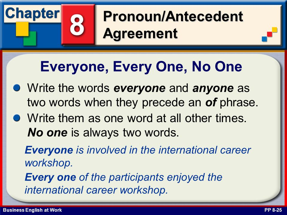 Business English at Work Pronoun/Antecedent Agreement Everyone, Every One, No One PP 8-25 Write the words everyone and anyone as two words when they precede an of phrase.