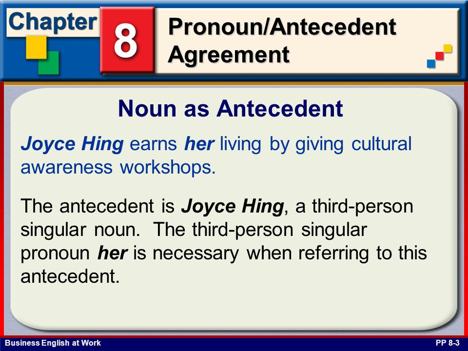 Business English at Work Pronoun/Antecedent Agreement Joyce Hing earns her living by giving cultural awareness workshops.