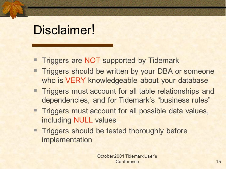 October 2001 Tidemark User s Conference15  Triggers are NOT supported by Tidemark  Triggers should be written by your DBA or someone who is VERY knowledgeable about your database  Triggers must account for all table relationships and dependencies, and for Tidemark's business rules  Triggers must account for all possible data values, including NULL values  Triggers should be tested thoroughly before implementation Disclaimer !