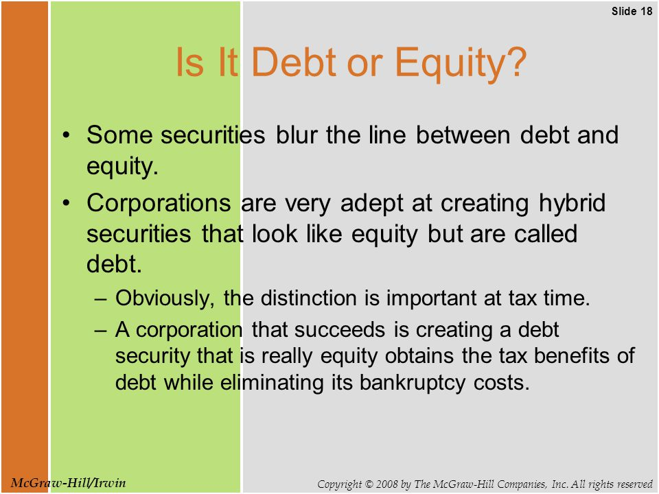 Slide 18 Copyright © 2008 by The McGraw-Hill Companies, Inc.
