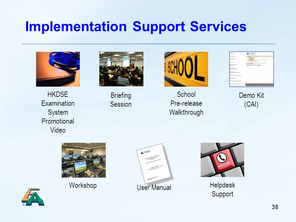 38 Implementation Support Services HKDSE Examination System Promotional Video School Pre-release Walkthrough Briefing Session Workshop User Manual Demo Kit (CAI) Helpdesk Support