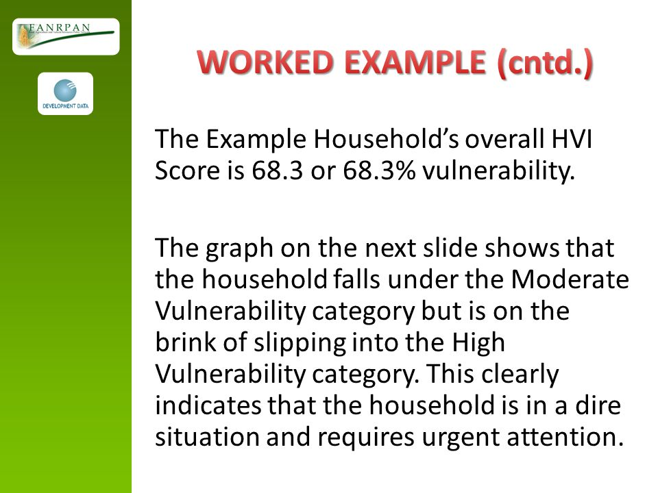 The Example Household's overall HVI Score is 68.3 or 68.3% vulnerability.
