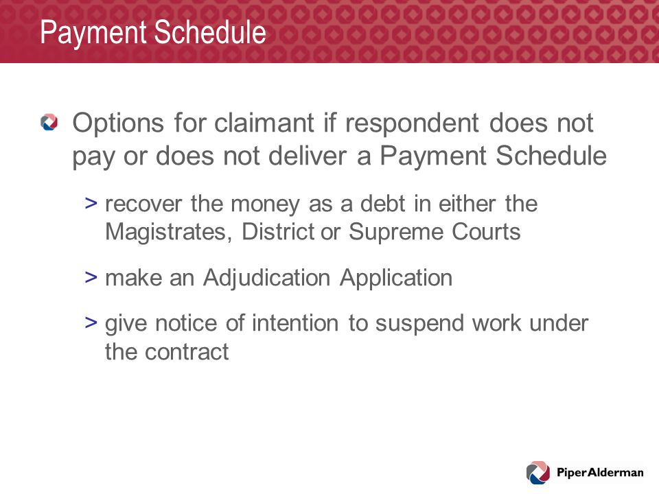 Payment Schedule Options for claimant if respondent does not pay or does not deliver a Payment Schedule >recover the money as a debt in either the Mag