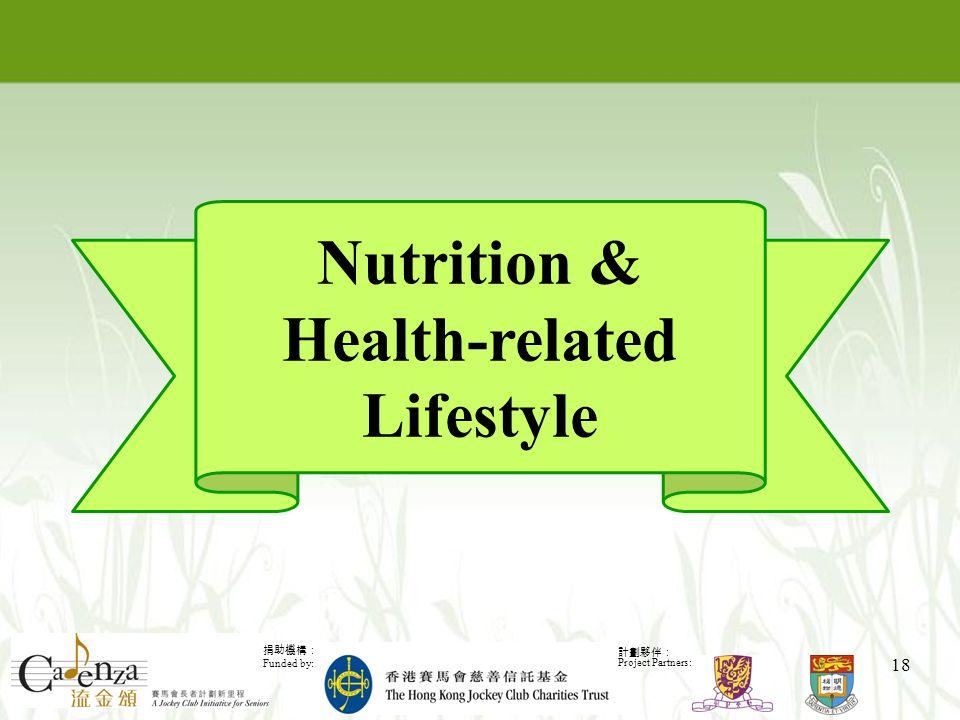 捐助機構: Funded by: 計劃夥伴: Project Partners: 18 Nutrition & Health-related Lifestyle