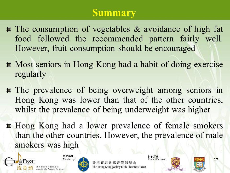 捐助機構: Funded by: 計劃夥伴: Project Partners: 27 Summary The consumption of vegetables & avoidance of high fat food followed the recommended pattern fairly well.