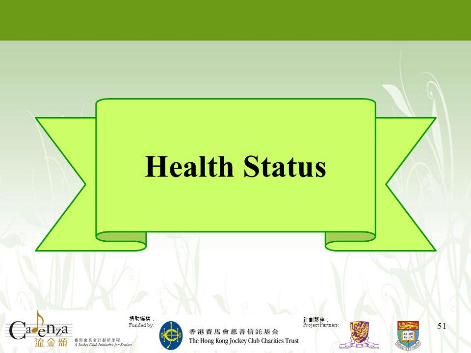 捐助機構: Funded by: 計劃夥伴: Project Partners: 51 Health Status